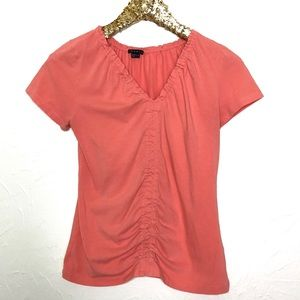 Theory Peach Ruched Knit Top